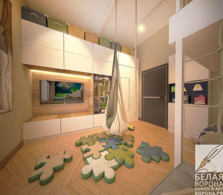 дизайн проект комнаты в современном стиле в с применением лёгких цветовых акцентов