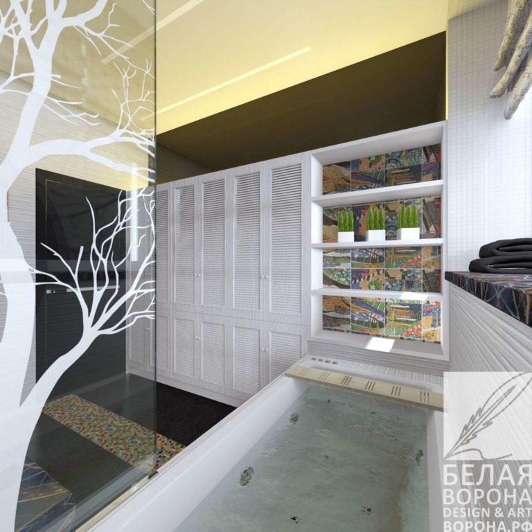 дизайн интерьер ванной в с применением лёгких цветовых акцентов
