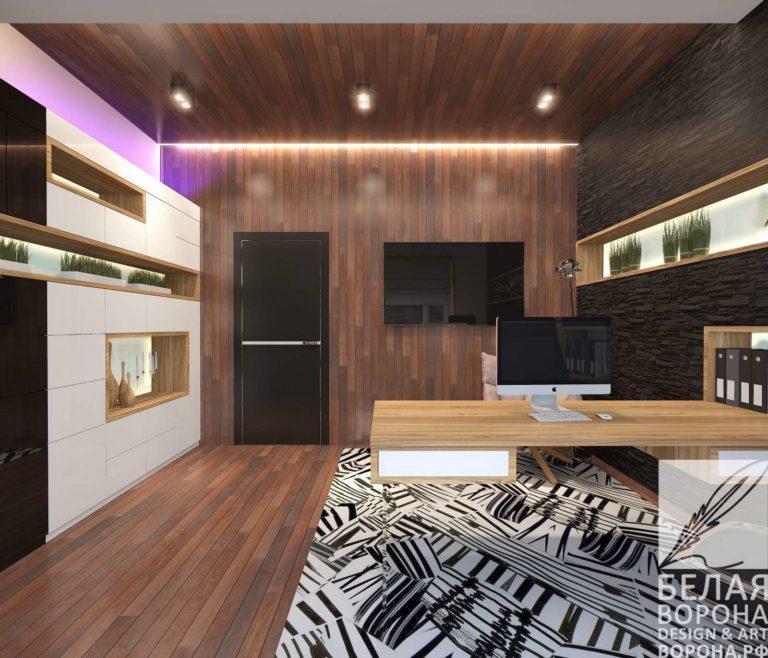 дизайн проект просторной квартиры в контраста тёплых и холодных цветов