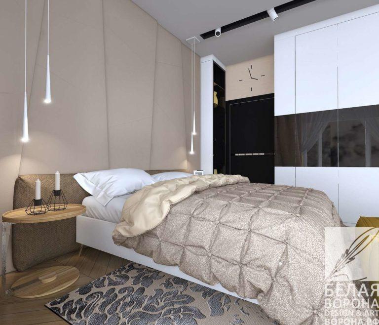 дизайн интерьер спальни в современном интерьере в светлых тонах