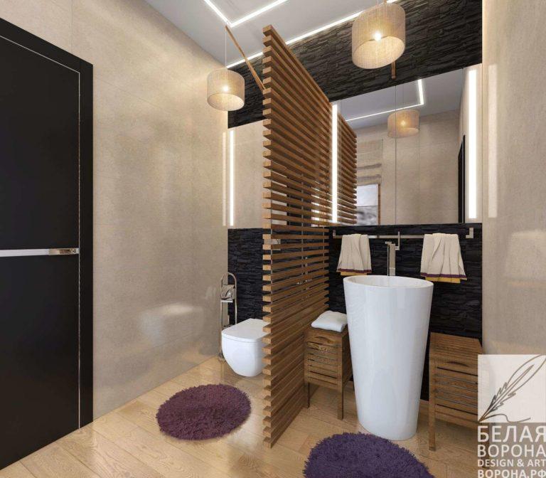 дизайн-проект туалетной комнаты с применением резкого контраста