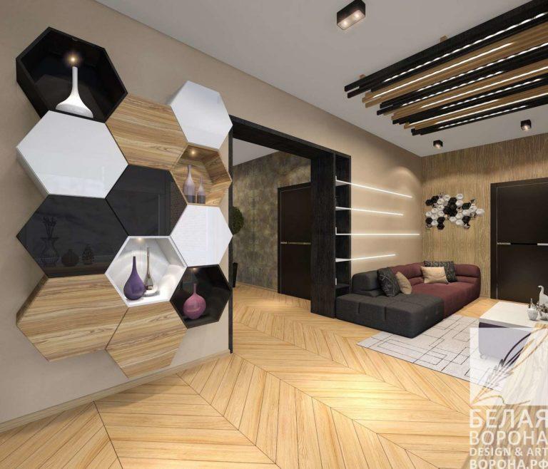 дизайн проект спальни в с применением лёгких цветовых акцентов в монохромной гамме