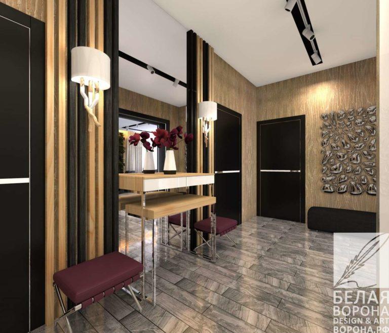 дизайн интерьер холла первого этажа в контраста тёплых и холодных цветов