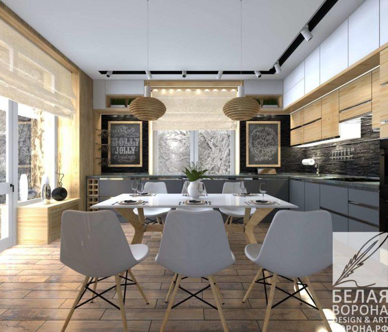 дизайн проект столовой в светлых тонах