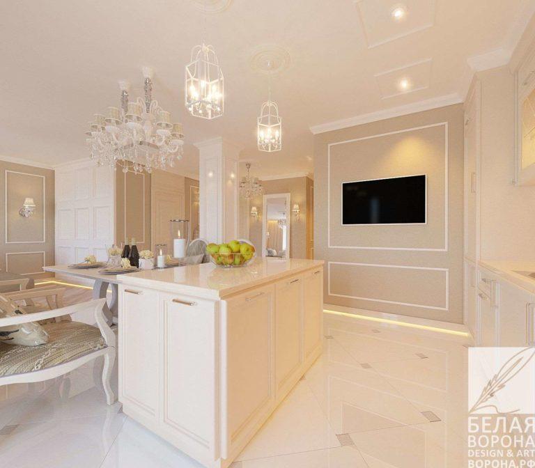 дизайн проект просторной квартиры в с применением лёгких цветовых акцентов кухонный гарнитур