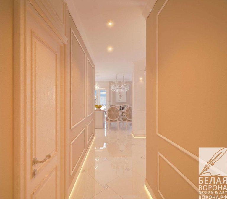 дизайн интерьер коридора в с применением лёгких цветовых акцентов