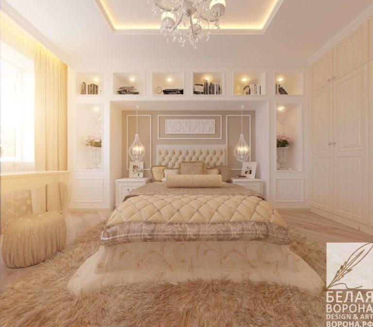 дизайн интерьер спальни в современном стиле в контраста тёплых и холодных тонов