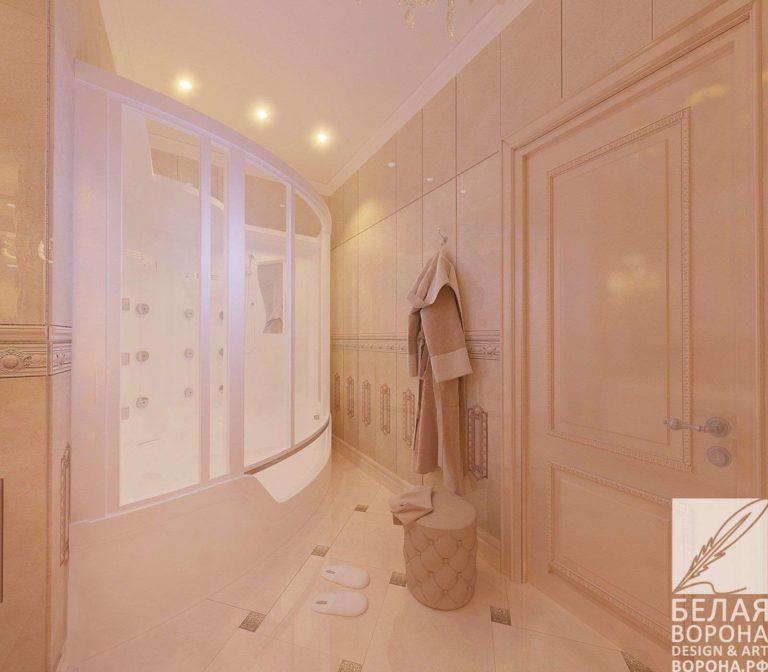 дизайн интерьер ванной в контраста тёплых и холодных тонов
