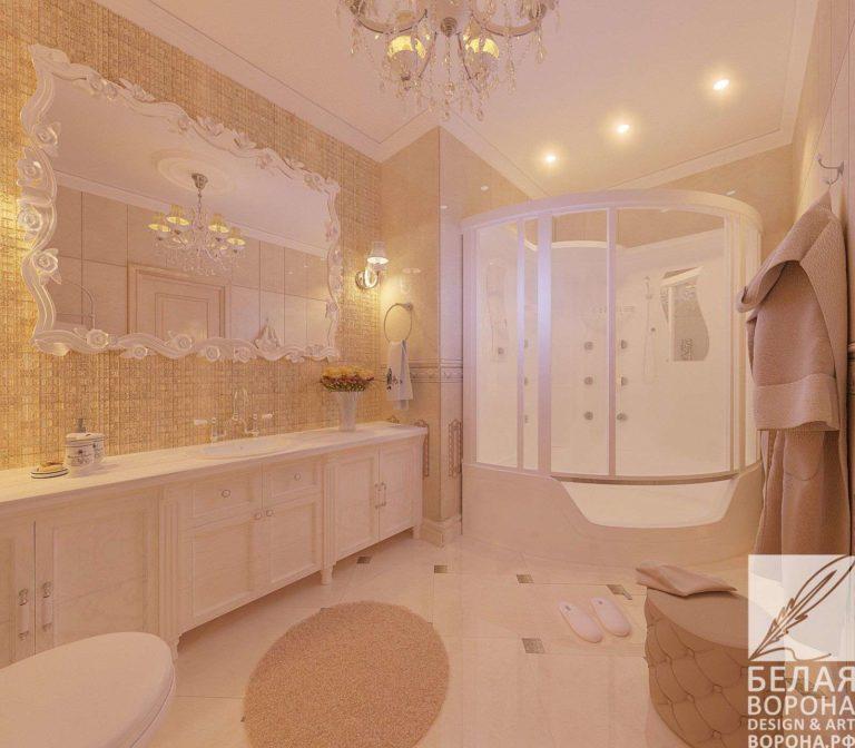 дизайн интерьер ванной в светлых тонах просторное помещёние ванная совмещённая с санузлом