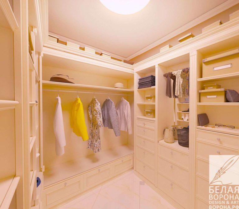 дизайн проект гардеробной в современном стиле в с применением золотистых элементов