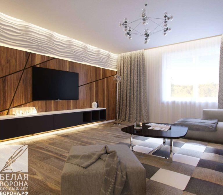 дизайн интерьер гостинной в современном стиле в контраста тёплых и холодных цветов