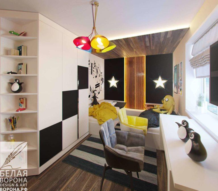 дизайн проект рабочей зоны в спальне в с применением цветовых акцентов