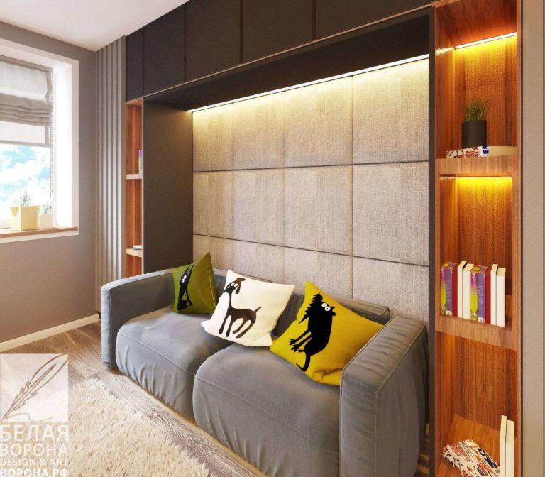 дизайн интерьер зоны отдыха в спальне в применением резкого контраста
