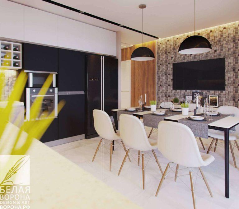 дизайн проект кухни в контраста тёплых и холодных тонов совмещение в интерьере столовой и кухни