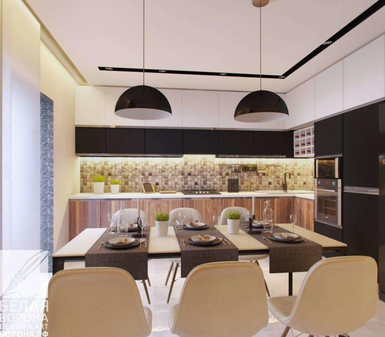 дизайн интерьер кухни совмещённой со столовой в контраста тёплых и холодных тонов