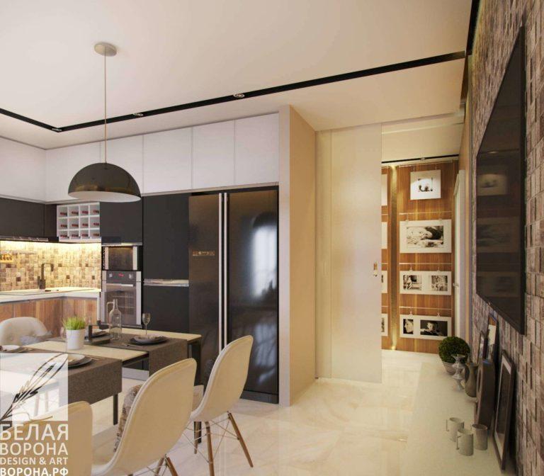 дизайн проект просторной столовой в с применением лёгких цветовых акцентов
