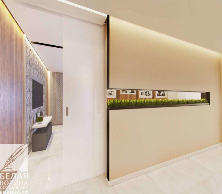 дизайн интерьер холла в светлых тонах с элементами экостиля