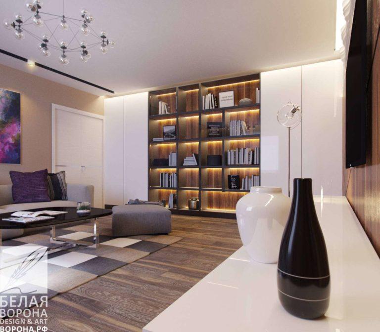 дизайн интерьер гостиной в контраста тёплых и холодных цветов