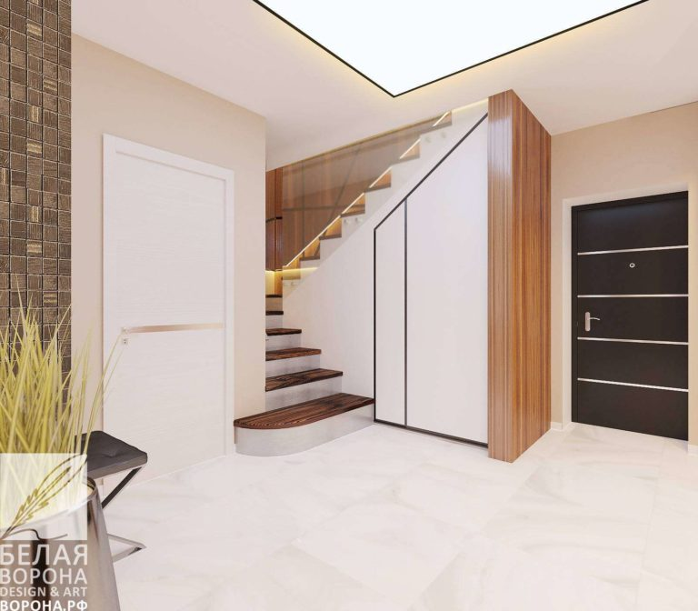 Проект лестницы в современном дизайнерском интерьере