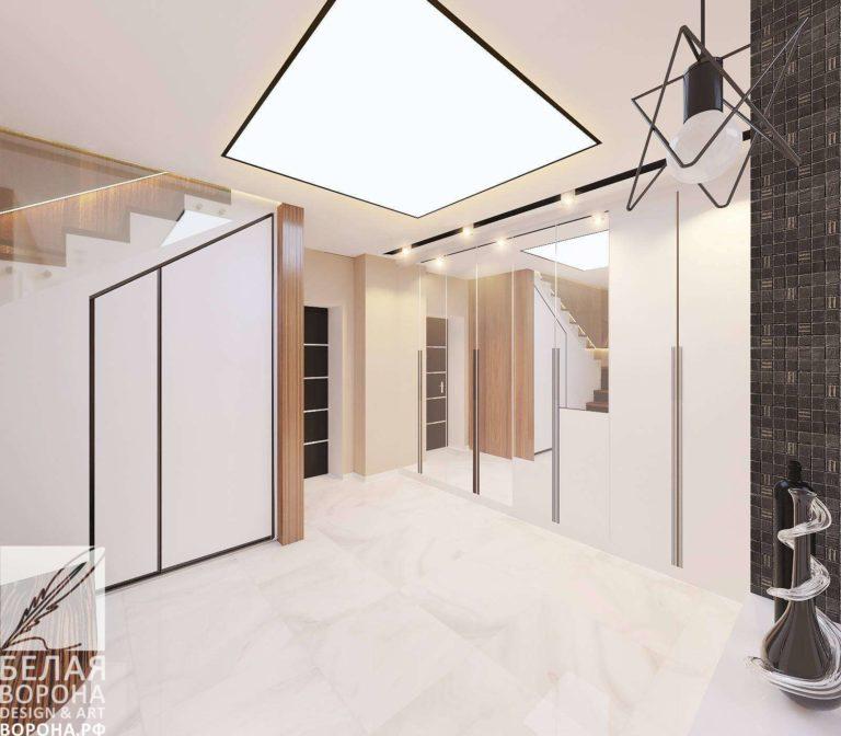 дизайн проект просторной квартиры в с применением золотистых элементов монохромный интерьер проект первого этажа