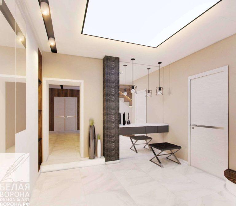 дизайн проект холла в контраста тёплых и холодных тонов