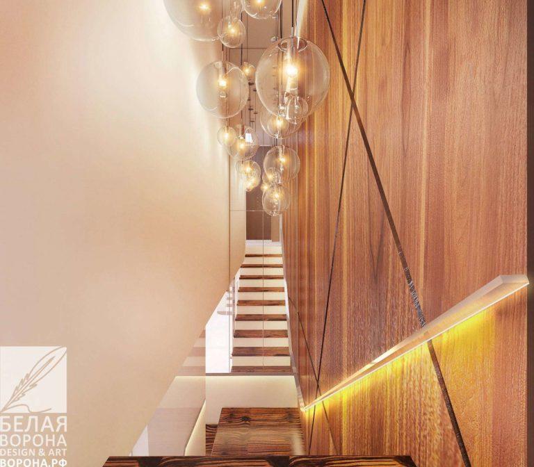 дизайн проект квартиры в с применением золотистых элементов интерьер лестницы в 2020