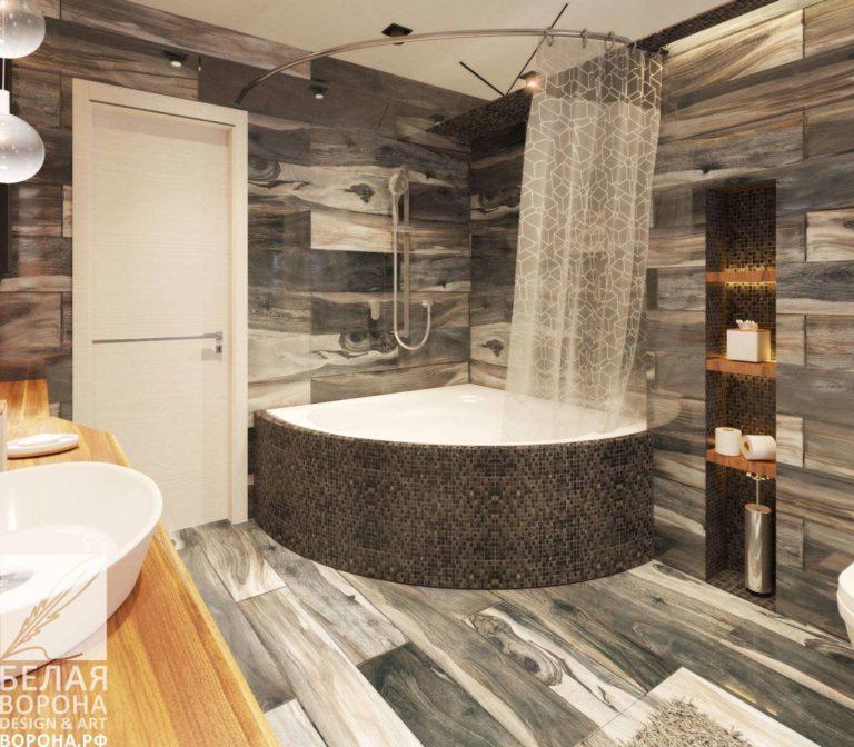 дизайн интерьер ванной в применением резкого контраста