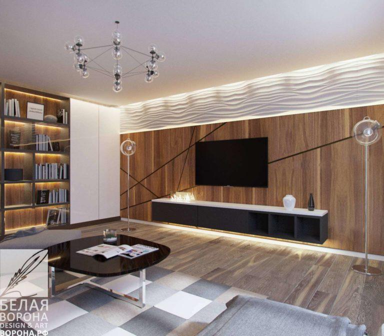 дизайн проект гостиной в с применением лёгких цветовых акцентов