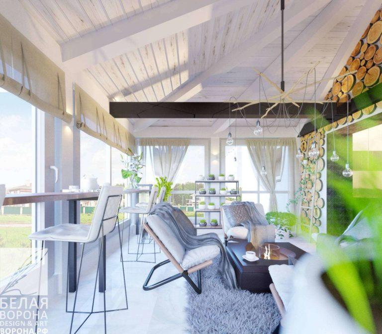 дизайн проект просторной гостинной в контраста тёплых и холодных цветов