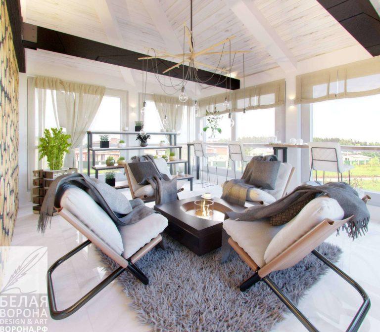 дизайн проект гостиной в современном интерьере