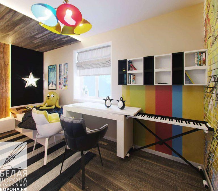 рабочее пространство в совремееном интерьере детской комнаты