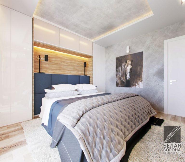 Спальня с оттенками синего. Интересные дизайн-проекты2020