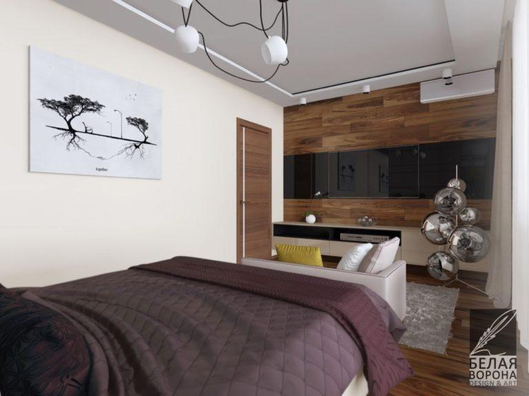 Спальня с элементами в виноградных оттенках