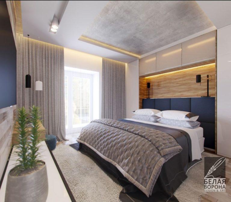 Спальня в современном интерьерном пространстве. дизайнерский проект