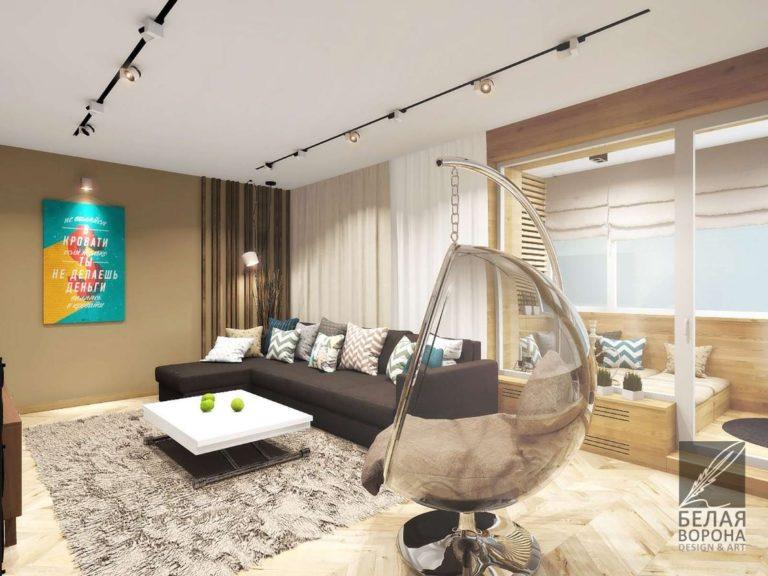 Интересное кресло в интерьере современной гостинной