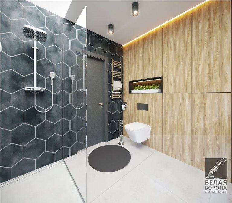 Туалетная комната с отделкой втёмных тонах в современном стиле