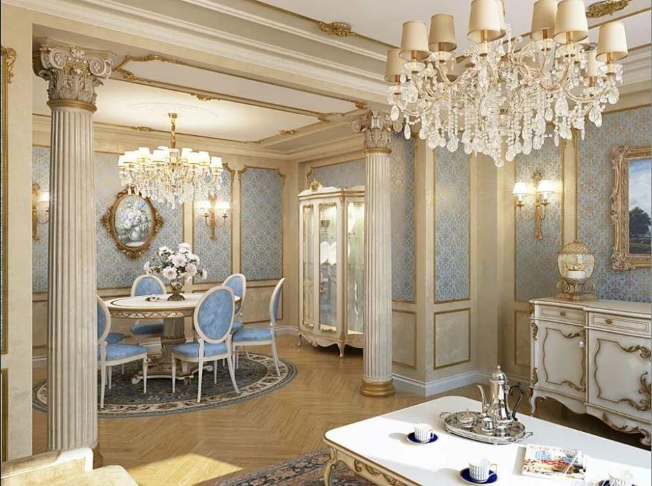 Гостинная выполнена в светлых тонах в классическом стиле.