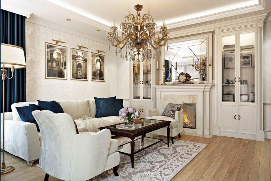 На фото пример дизайн-проекта гостинной выполненной в традиционном стиле.