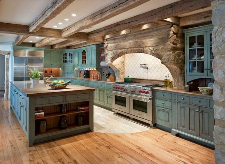 На фото пример кухни выполненной дизайнером в стиле рустик