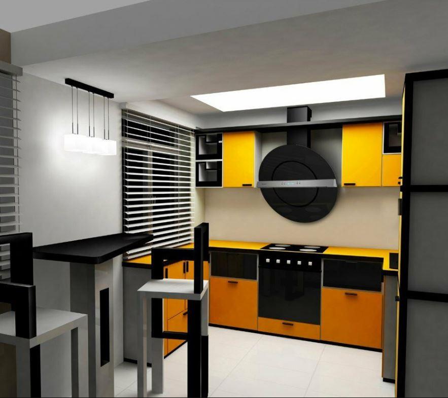 На фотографии пример кухни выполненной дизайнером интерьера в стиле конструктивизм