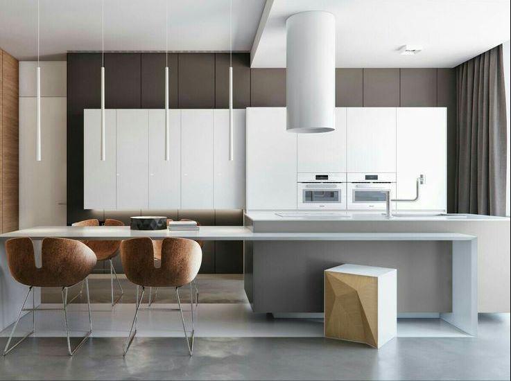 Фотография кухни-столовой выполненной по дизайн-проекту в стиле минимализм