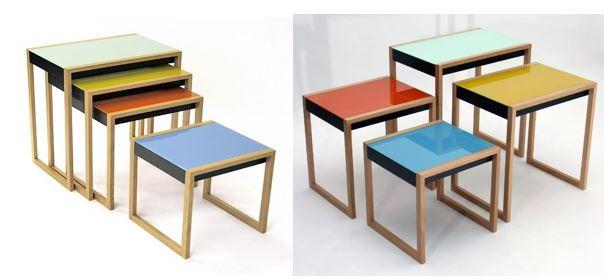Набор из четырёх цветных столиков, мебель стиля баухаус