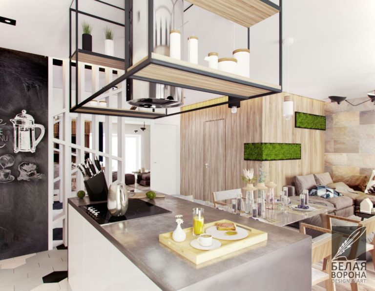 вытяжка для кухни и место хранения.Мебельное оборудование для кухни в дизайн-проекте