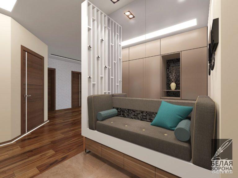 Гостиная в уютном современном интерьере в светлых тонах