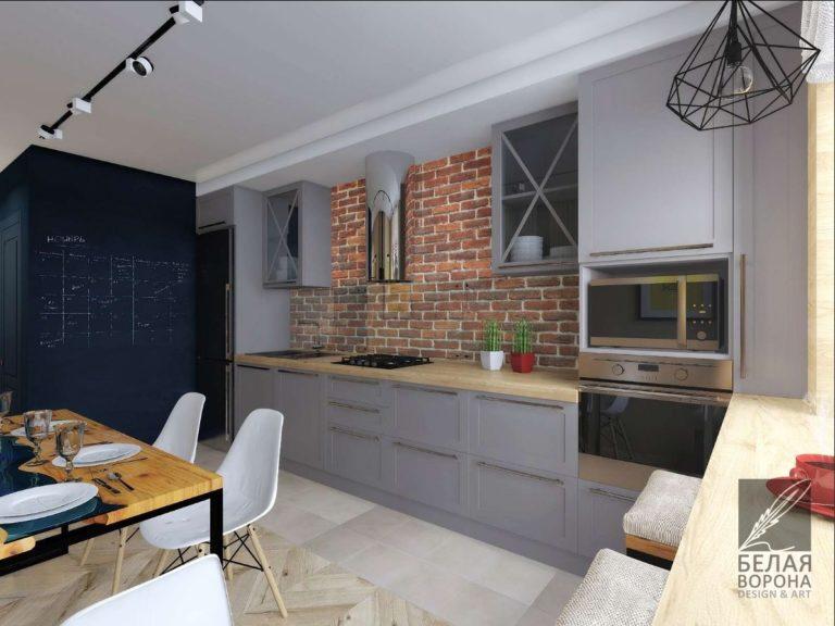 Кухонный гарнитур в дизайнерском проекте 2020
