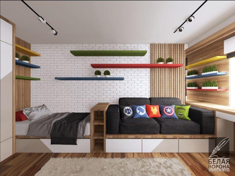 Функциональная спальня в современном интерьере в светлых тонах с яркими элементами