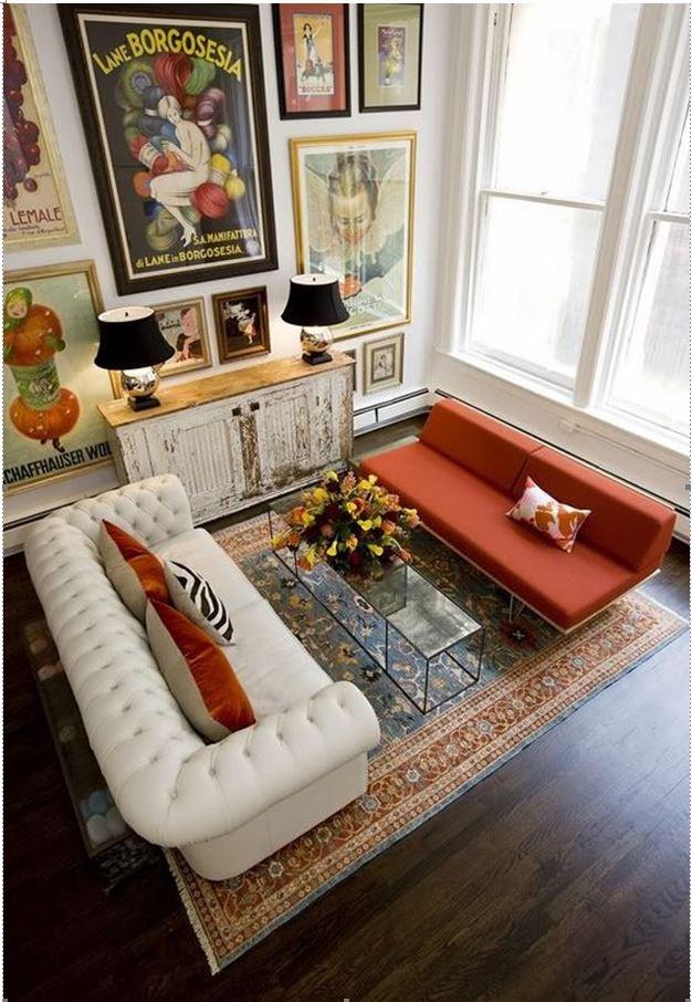Вариант смешения стилей, дизайн проект гостинной выполненной в светлых тонах с добавлением различных элементов
