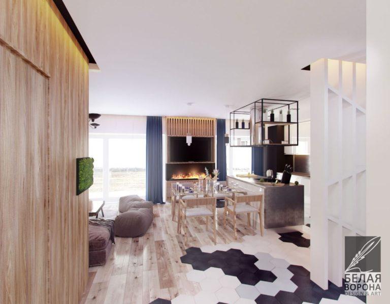 Кухня-столовая в квартире студии дизайн-проект