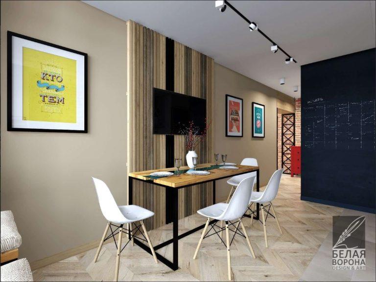 Столовая в светлых тонах по дизайн-проекту в современном интерьере