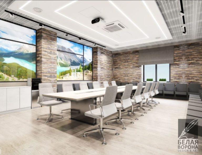 Интерьер конференц зала в помещении с большими окнами